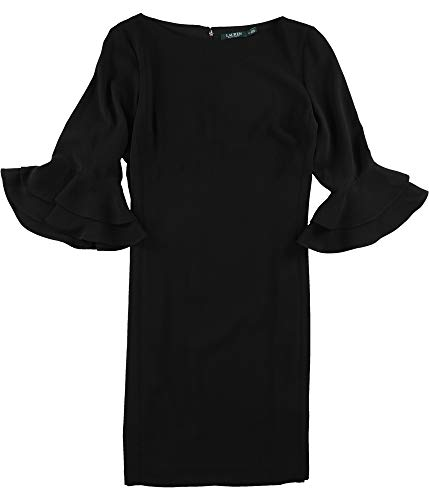 LAUREN RALPH LAUREN Womens Valakis Elbow Sleeves Shift Casual Dress Black 8