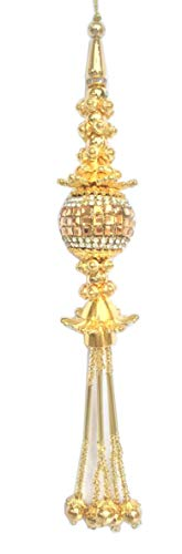 Gold Beaded Tassel - Beaded Salwar Kameez 1 Pair Tassels Decorative Latkans Golden Keychain Supply (Golden 8)