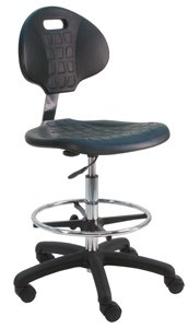 Esd Lab - BenchPro Deluxe Polyurethane Chair/Stool with Nylon Base and Footring, 450 lbs Capacity, 18.5