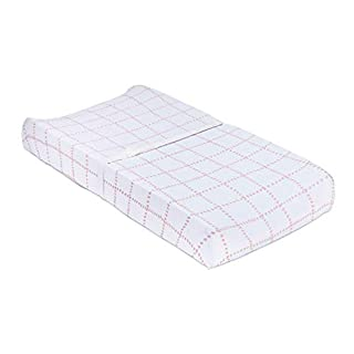 Petit Dreams Changing Pad Cover Jersey Knit Cotton for Baby Girl Doubles As Cradle Sheet, Pink Grid Lines