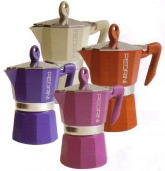Pedrini: 6 Cup Espresso Coffee Pot, Red Colour