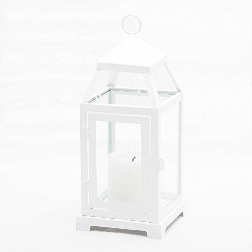 Richland White Contemporary Metal Lantern with Clear Glasses Small Set of 6]()