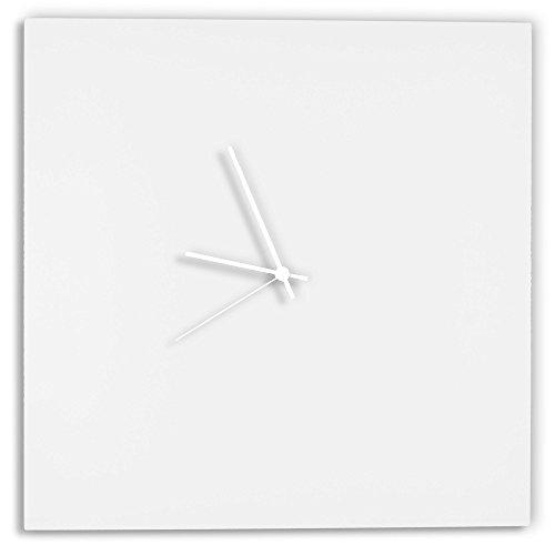 Modern White Clock Whiteout White Square Clock Minimalist Metal Wall Clocks, Contemporary Decor – 16in. White w White Hands