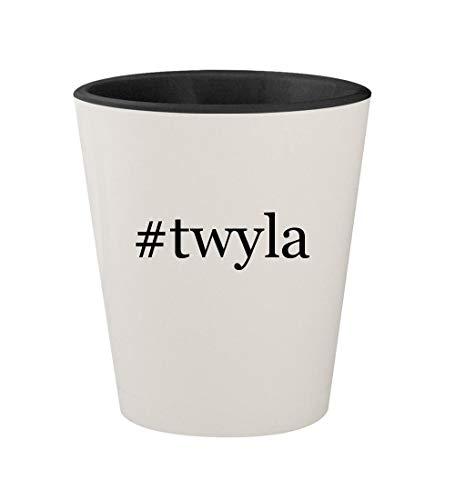 #twyla - Ceramic Hashtag White Outer & Black Inner 1.5oz Shot Glass]()