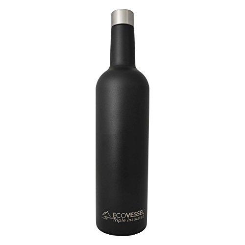 Eco Vessel, LLC 9005547 Vine Trimax Triple Insulated Wine Bottle, Black