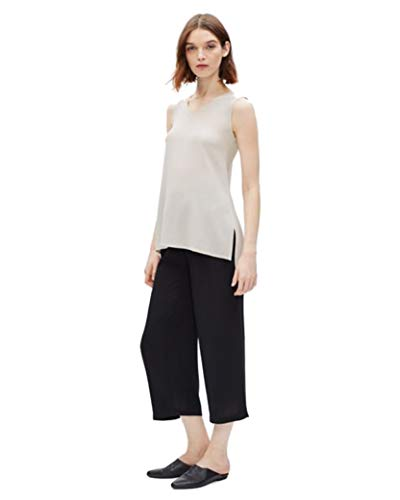 Eileen Fisher Bone Silk Georgette Crepe V-Neck Long Shell