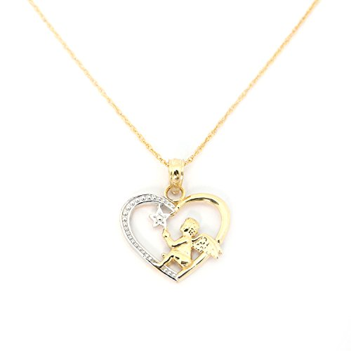 Beauniq 14k Yellow and White Gold Angel in a Heart Pendant Necklace - 18 Inches