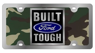 Stainless Steel License Plate- SOLID- Built Ford Tough Badge, Green Camouflage Solid, Blue w Mirror Oval, Mirror Shield/Word, Black Badge