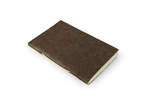 Nepali Companion Pocket Notebook with Handmade Paper and Vegetable-Dyed Cover. Made in Nepal (Small, Dark Walnut)