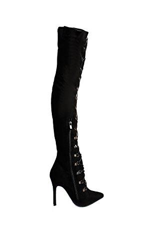 IKRUSH Womens Alesia Corset Faux Suede Boots Black cckiNU
