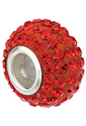 Sterling Silver 12x8mm Roundel Bead with Pave Red Crystals