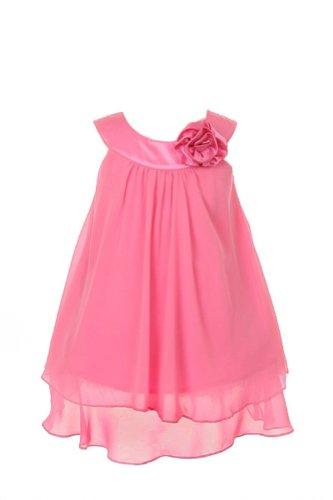 Fuchsia Chiffon Zipper (Soft & Flowy Chiffon Pageant Holiday Flower Girl Party Dress - Fuchsia 2)
