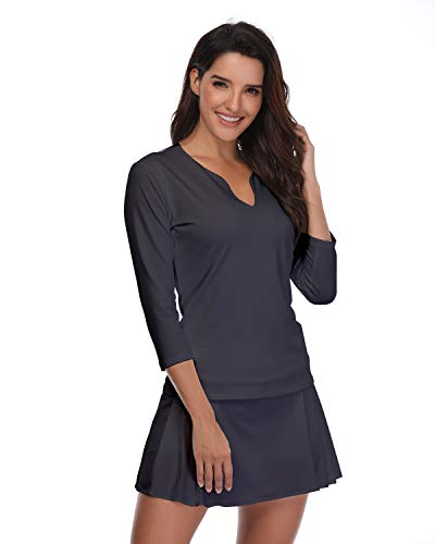 32e-SANERYI Women's Workout Pullover Tunic Shirt 3/4 Sleeve Double Layer Caual Basic Tops