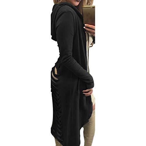 Sciolto Cappotto Cappuccio xl Lunga Tasca Lunghezza Hibote Con Felpe S Moda Manica 3 Elegante Donna Uw55zqWnH