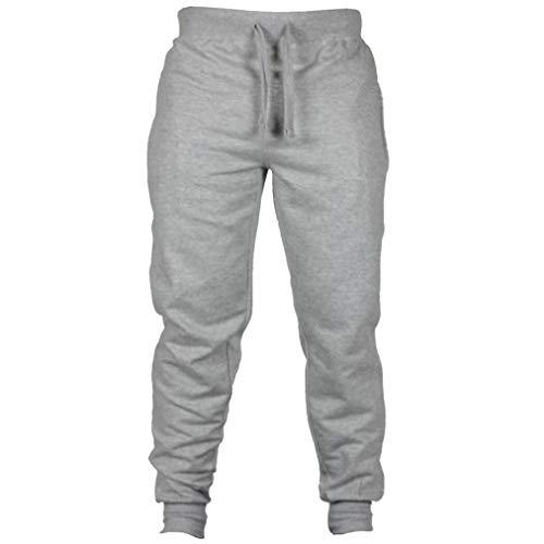 Willsa Men's Pants Mens Fashion Autumn Joggers Solid Color Casual Drawstring Sweatpants ()