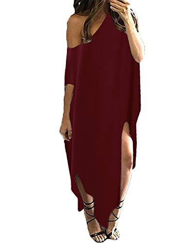 (Kidsform Women Off Shoulder Maxi Dress Striped Casual Loose Kaftan Oversized Beach Cover Up Round Neck Sundress Wine Red 2XL)