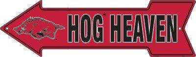 Arkansas Razorbacks - Hog Heaven - Metal Arrow Sign 6 X 20