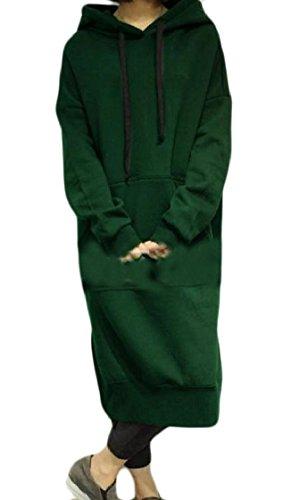 Hooded Green Pockets Women Coolred Fleece Dresses Big Side Slit Sweatshirts Y1vxS