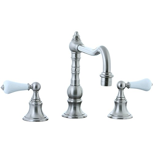 Cifial 262.250.031 Highlands Widespread Kitchen Faucet with White Porcelain Handles, Unlacquered - Brass Handles Highlands