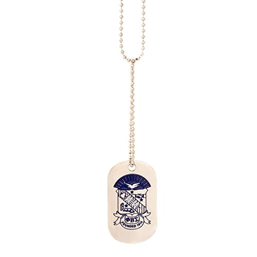 Desert Cactus Phi Beta Sigma Fraternity Silver Dog Tag Necklace with Crest Greek Sigma