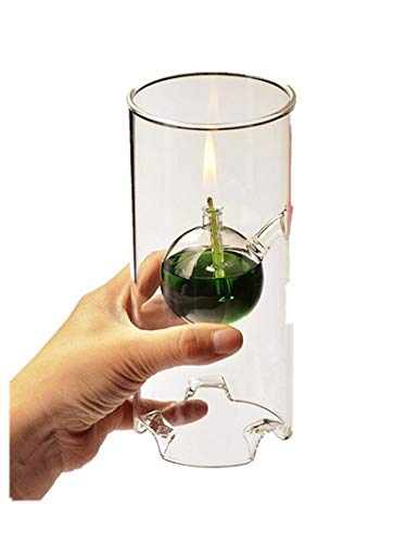Makeupstore Creative Glass Cylinder Oil Lamp,Fashion Super Beauty Transparent Glass Lotus Bottom Atmosphere Lampstand Characteristics Wedding Gift (Clear)