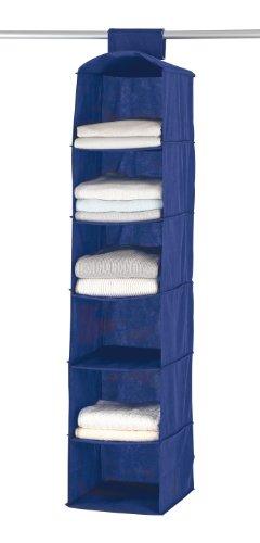 WENKO 4374120100 Wäschesortierer Air - 6 breite Fächer, 100 % Polypropylen, 30 x 120 x 30 cm, Blau