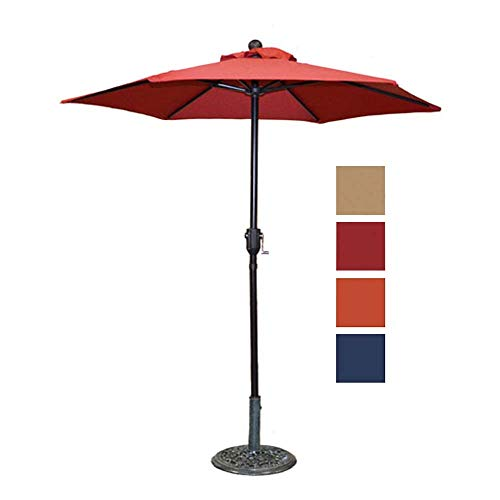 Patio Umbrella Outdoor Table Umbrella with 6 Sturdy Ribs and Crank 6 ft, Red Umbrella