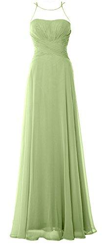 Bridesmaid Simple Dress Gown Chiffom Elegant Formal Long MACloth Halter Prom Pistachio YwtCqng