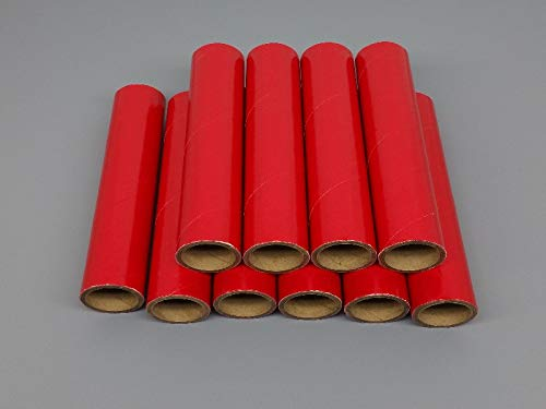 10 FIREWORKS PYRO Gloss Red Heavy Wall Cardboard Tubes, 1