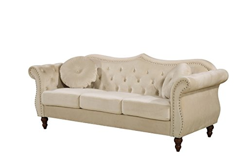 Container Furniture Direct S5368-S Anna1 Sofa, Ivory (Ivory Couch)
