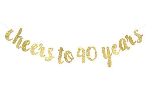 Intoy Gold Glittery Cheers to 40 Years Banner, Hanging Cursive Letters Banner Garland for 40th Birthday and Wedding Anniversary Party Decoration -
