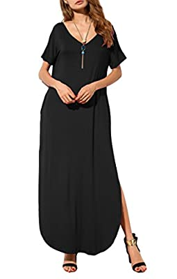 POSESHE Women's Casual Loose Pocket Long Dress Short Sleeve Split Maxi Dress