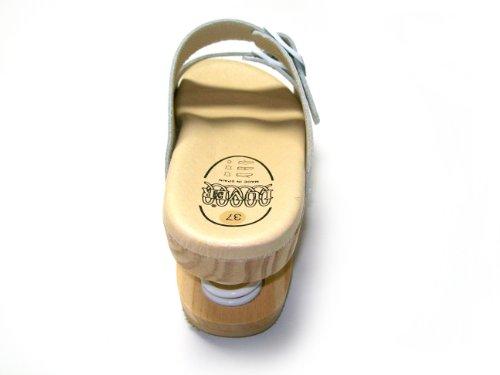 LUVER Sandale en bois anatomique avec ressort 2101/A couleur blanc taille 42