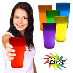Better Than L.E.D., Super Bright Long Lasting Glow in the Dark Light up Glow Cups Like a Glow Stick, Glow Bracelet or Necklaces but Better! Party Pack = 12 Cups
