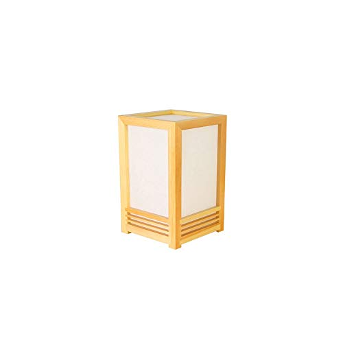 LDDEND Simple creative wooden square table lamp - Bedroom bedside table - Decorative table lamp - Interior lamp tatami table lamp original pine - PVC lampshade (Color : White light)