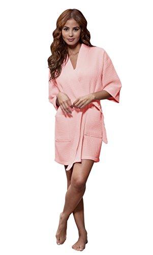 Lightweight Knee Length Waffle Kimono Bridesmaids Spa Robe (XX-Large, Blush)