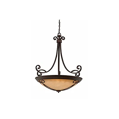 Lumenno Lighting 1003-02-35 Pendant with Tea Stained Glass Shades, Bronze Finish