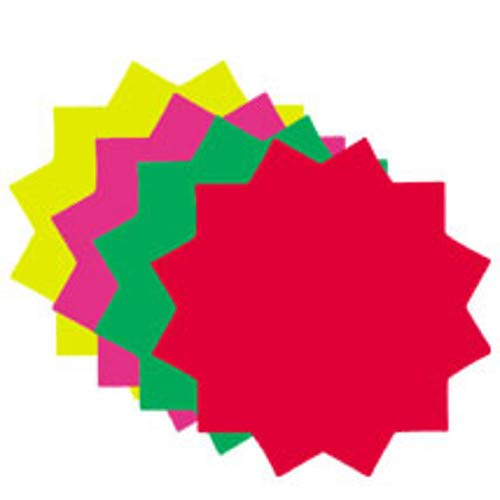 Star Shape Ultra Glo Fluorescent Price Cards with 4 Inch Diameter - Lot of 100