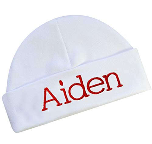 - Embroidered and Personalized Unisex Baby Hat Baby Shower Keepsake Custom Infant Hat (White Hat)