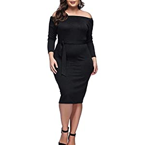 HOOYON Plus Size Dress Women's Off Shoulder Short/Long Sleeve Bodycon Mini Dress