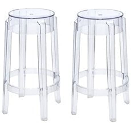 Philippe Starck Style Charles Ghost Counter Stool 26 Set Of 2