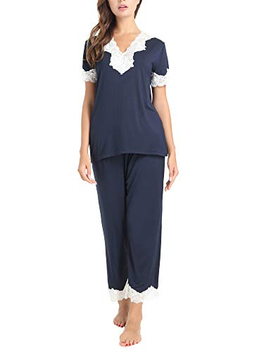 Cherrydew Women's Pjs Soft Bamboo Short Sleeve Capri Pajama Lounge Sets with Lace Trim(Navy, Small)