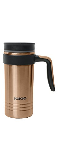 (Igloo Isabel Stainless Steel Vacuum Insulated Travel Coffee Mug with Handle, Copper, 16 oz)