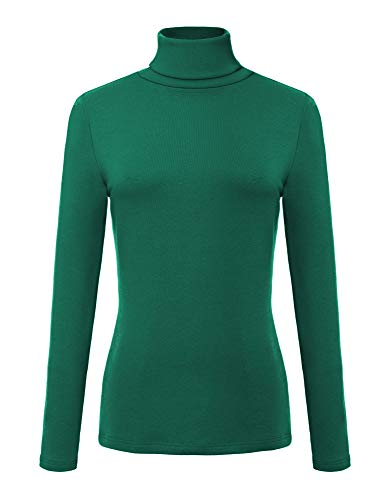 - Urban CoCo Women's Solid Turtleneck Long Sleeve Sweatshirt (XL, Dark Green)