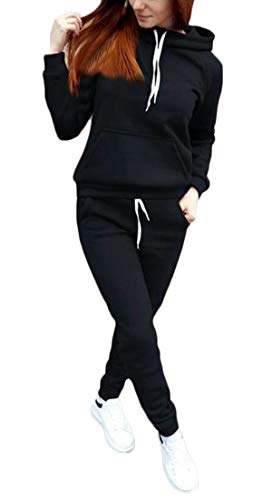 (WSPLYSPJY Women Jogger Outfit Hooded Sweatshirt and Sweatpants 2 Piece Sports Sets Black XL)