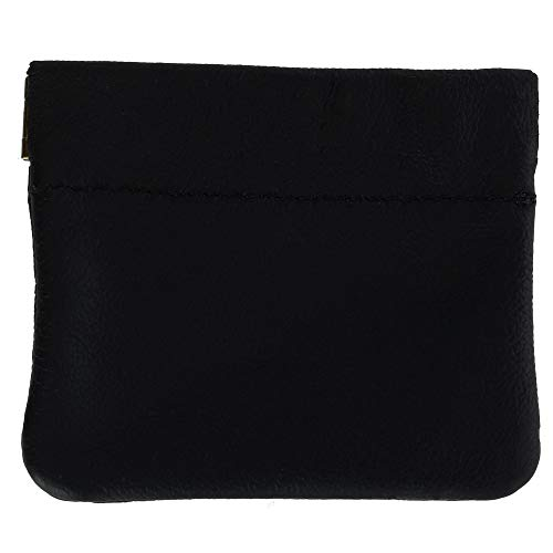 CTM Leather Squeeze Coin Pouch (One Size, Black)