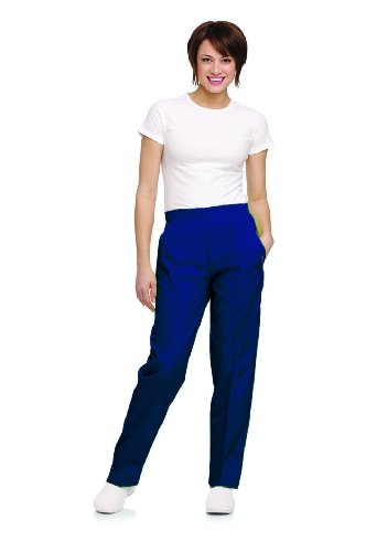 Petite Classic Fit Pants - Landau Women's Classic Fit Elastic Waist Scrub Pants XX-Large Petite Patriot Blue
