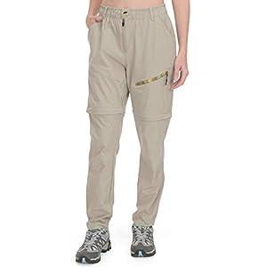 Little Donkey Andy Women's Convertible Hiking Pants Lightweight Zip-Off Pants Quick Dry UPF 50 Khaki Size XL