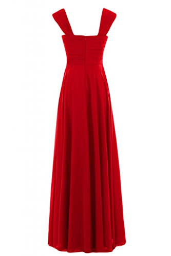 V con Gowns Charming scollo lungo Bridesmaid abito a Empire Pageant Red Sunvary vYwq1Bff