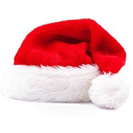 Traditional Red and White Plush Christmas Santa Hat]()